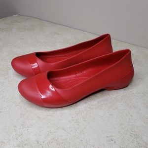CROCS Gianna Slip On Flats Red Women's 10